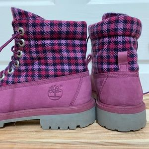 LK NEW Timberland Roll-Top Boots Pink Purple Plaid